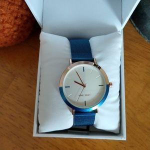 Nine West Blue Metallic Watch NWT